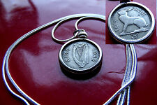 """Lovely 1942 IRELAND Harp & Hare Coin Pendant on a 30"""" 925 Silver Snake Chain"""