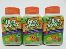 Fiber Advance Gummies Kids Daily 3g Fiber Fruit Lot of 3 60pc Bottles=180 Total