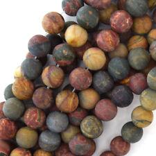 Matte Multicolor Picasso Jasper Round Beads 15.5