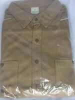 Haband mens size Large L New NIP Brown Short Sleeve with Pockets Button up