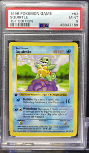 Squirtle 1st Edition Shadowless Base Set Pokemon Card #63 PSA 9 MINT