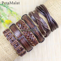 PotaMalat 6pcs Bangles Ethnic Tribal Genuine Brown Leather Bracelet for Men-D124