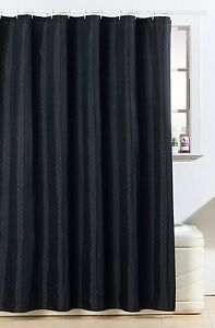 GLITTER DIAMANTE POLYESTER SHOWER CURTAIN BATH WITH FREE HOOKS Black