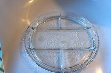 VINTAGE ETCHED GLASS DIVIDED (FIVE SECTION) SERVING DISH
