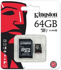 Original 64GB Kingston Micro SD SDXC Speicherkarte CL10 UHS-1 inkl. Adapter NEU