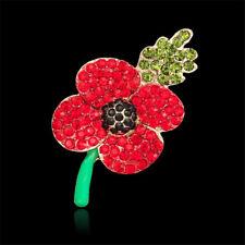 Womens Poppy Flower Brooch Pin Crystal Badges Broach Ladies Diamante Poppies