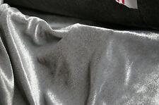 SILVER VELOUR VELVET - DRESS / CRAFT / THEATRE FABRIC - 145cm Width - UK MADE