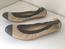 Chanel Womans CC   Beige Flats  Shoes  .Sz 42 Made in Italy