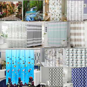 Modern Design Bathroom Shower Curtain Waterproof Extra Long Wide with Hooks