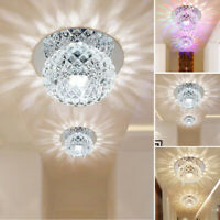 Modern LED Crystal Chandelier Mini Round Flush Mount Ceiling Light Fixture Lamp