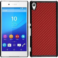 Hardcase for Sony Xperia Z3+ / Plus carbon optics red Cover + protective foils