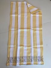 One (1) Anthropologie Nubby Yellow & Ivory Stripe Embroidered Dishtowel Cotton