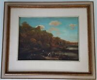 Vintage Framed Unsigned Dark Fishing Village at the Mill Oil Painting on Board