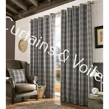 "Check  Tartan Pair Of  Eyelet Curtains Grey  Cream DIM OUT Lining  55"" x 90"""