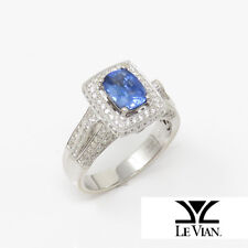 NYJEWEL LeVian Le Vian 18K White Gold 3ct Natural Sapphire Diamond Cocktail Ring