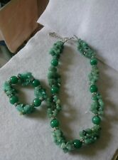 Woman's Semi Precious Green Agate Stretch Bracelet and Necklace Set