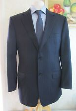 Canali Navy Stripe Suit Jacket Size 42 L TALL 100% WOOL 2 btn Made in Italy  C15