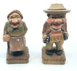 """Pair of K Wohlfahrt 3.5"""" Wood Carved Figurines Lady with Stick and Accordian"""