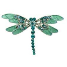 Blue/Green Enamel with Blue Zircon Crystal Dragonfly Brooch Pin - PRI178J