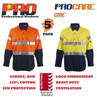 5 pack Hi Vis Work Shirt vent Cotton drill CR 3M Tape WorkWEAR long sleeves