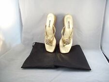 "Lily Holt Gold Beaded 1"" Strappy Wedge Beaded Sandals Size 9M"