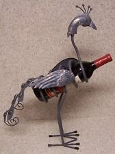 Wine Bottle Holder All Metal Whimsical Sculpture Peacock NEW