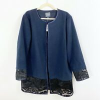 NEW The Limited Blue Black Lace Trim Open Front Faux Suede Jacket Size XL