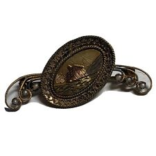 Scenic Victorian Pin with Rose, Green, White Gold, Seed Pearls