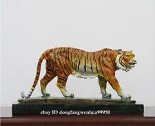 Bronze Marble Base Handpainted Modern Office Art Deco Animal Sculpture Tiger
