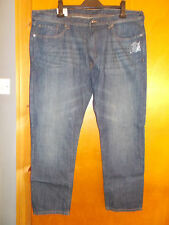 "M&S Tapered Leg 100%Cotton Denim Jeans W42"" L29"" Indigo BNWT"
