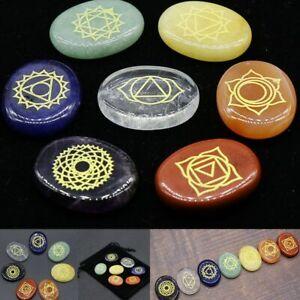 7PCS Chakra Stones Crystal Reiki Healing Energy Palm Natural Gemstone Quartz Set