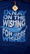 "New Disney Genie Aladdin Lamp ""Ixnay on the wishing for more wishes"" T Shirt L"