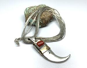 "Navajo Sterling Silver 2 Tone Coral Bear Claw Pendant Liquid Silver 16"" Necklace"