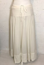 Joie Eggshell White Ivory Cotton Gypsy A-Line Maxi Embroidered Skirt Size 6