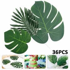 36pcs Artificial Tropical Palm Leaves Plastic Silk Fake Leaves Home Decor US