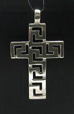 Sterling Silber Anhänger Kreuz mit Mäander massiv punziert 925 handgefertigt