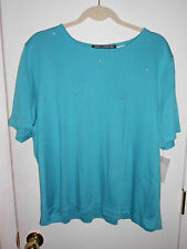 NWOT Nina Leonard 100%Acrylic Short Sleeve Sequined Light Blue Shirt Top Size 2X
