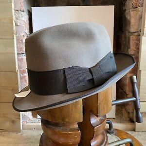VTG Wegener Colonel Fedora Trilby Hat Taupe EU 59 UK 7 1/4 US 7 3/8 Fur Felt