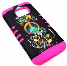 for Samsung Galaxy S7 Peace Free Music Hot Pink Rubber Hybrid Koolkase Skin Case
