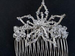 Gorgeous clear Swarovski crystal & wedding bridal comb with flower 6.5cm