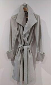 Women's Grey Wrap Coat Wool Blend - Soft Grey
