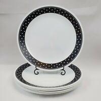 "Set of 6 VTG Corelle Brilliant Black Dots 10 1/4"" Dinner Plates Black White Dots"