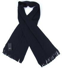 Hugo Boss NWT 100% Virgin Wool Navy Blue Black Scarf