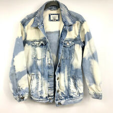 Forever 21 Denim Jean Jacket S Womens Bleached Design Button Front Blue