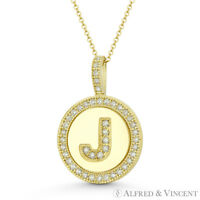 """Initial Letter """"J"""" Halo CZ Crystal Pave 14k Yellow Gold 19x13mm Necklace Pendant"""
