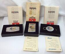 Zippo Slim Yellow/Black Enamel Flintkote Also Key Holder & Knife MIB (I198)