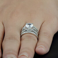 White Gold Finish 2.70 Ct Cushion Cut Solitaire Diamond Engagement Ring Size M N