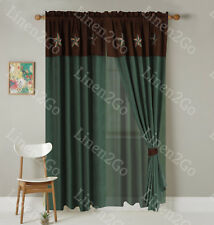 """Turquoise Texas Western Embroidery Star Suede Curtain With Lining - 120""""x84""""+18"""""""