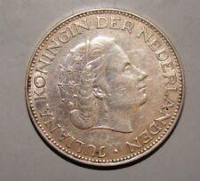 1960 Dutch Nederland Netherlands Silver Coin 2 1/2 Gulden Juliana Koningin