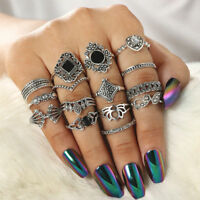 15Pcs Vintage Silver Lotus Midi Finger Knuckle Rings Set Boho Women Jewelry Gift